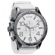 Nixon The 51-30 Chrono Leather Gun Metal White
